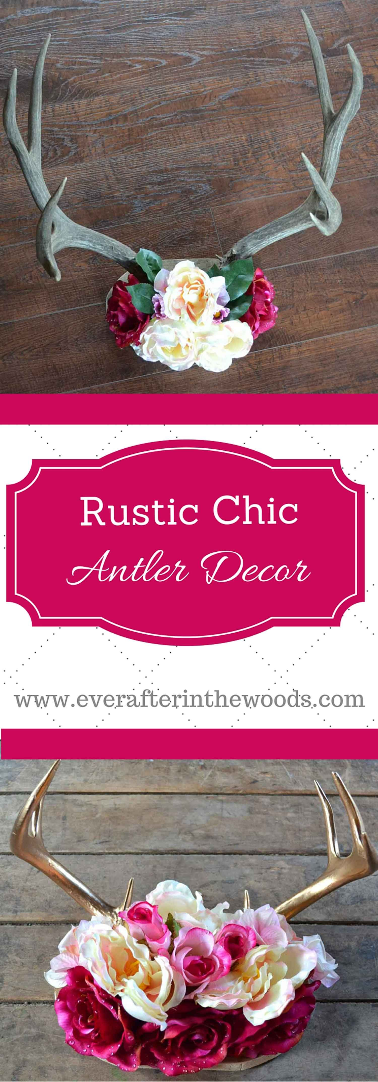 rustic chic antler decor diy   deer antlers, flower crowns and antlers