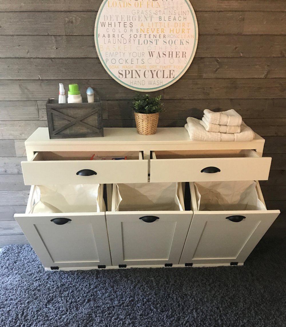 triple laundry hamper with storage drawers (3REG-LAU-DRAW-multi) images