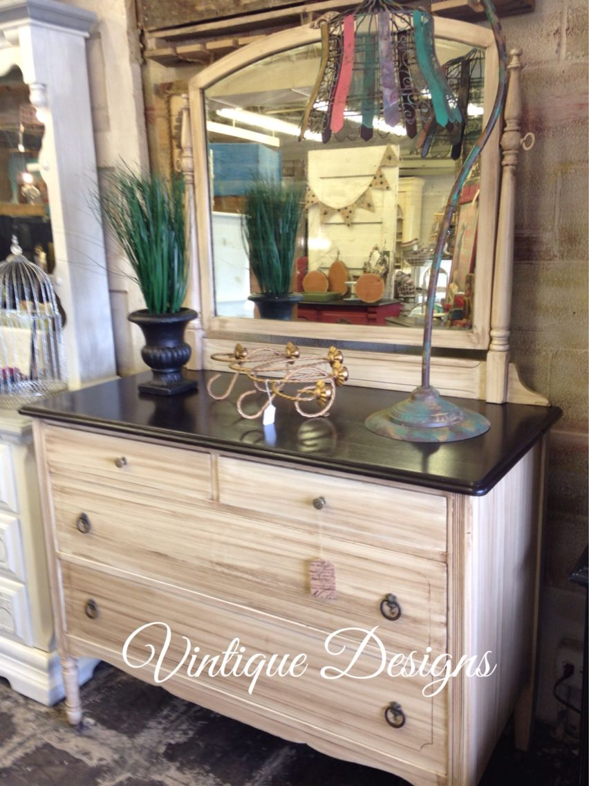 Antique white dresser and swivel mirror finished with