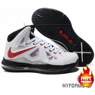 Nike Lebron 10 White Red Black