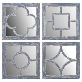 Indoor Outdoor Wood Wall Mirror With Geometric Overlay