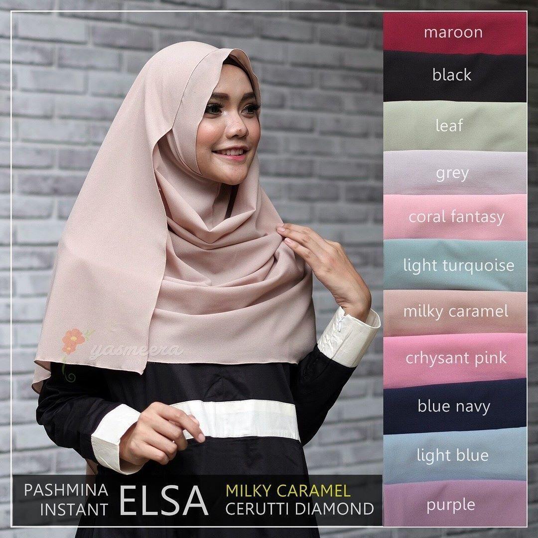 Yasmeera Pashmina Instant Elsa Milky Caramel Hijab Kerudung Khimar Instan 2 Lubang Face Jilbab Syari Untukmu Yg Cantik