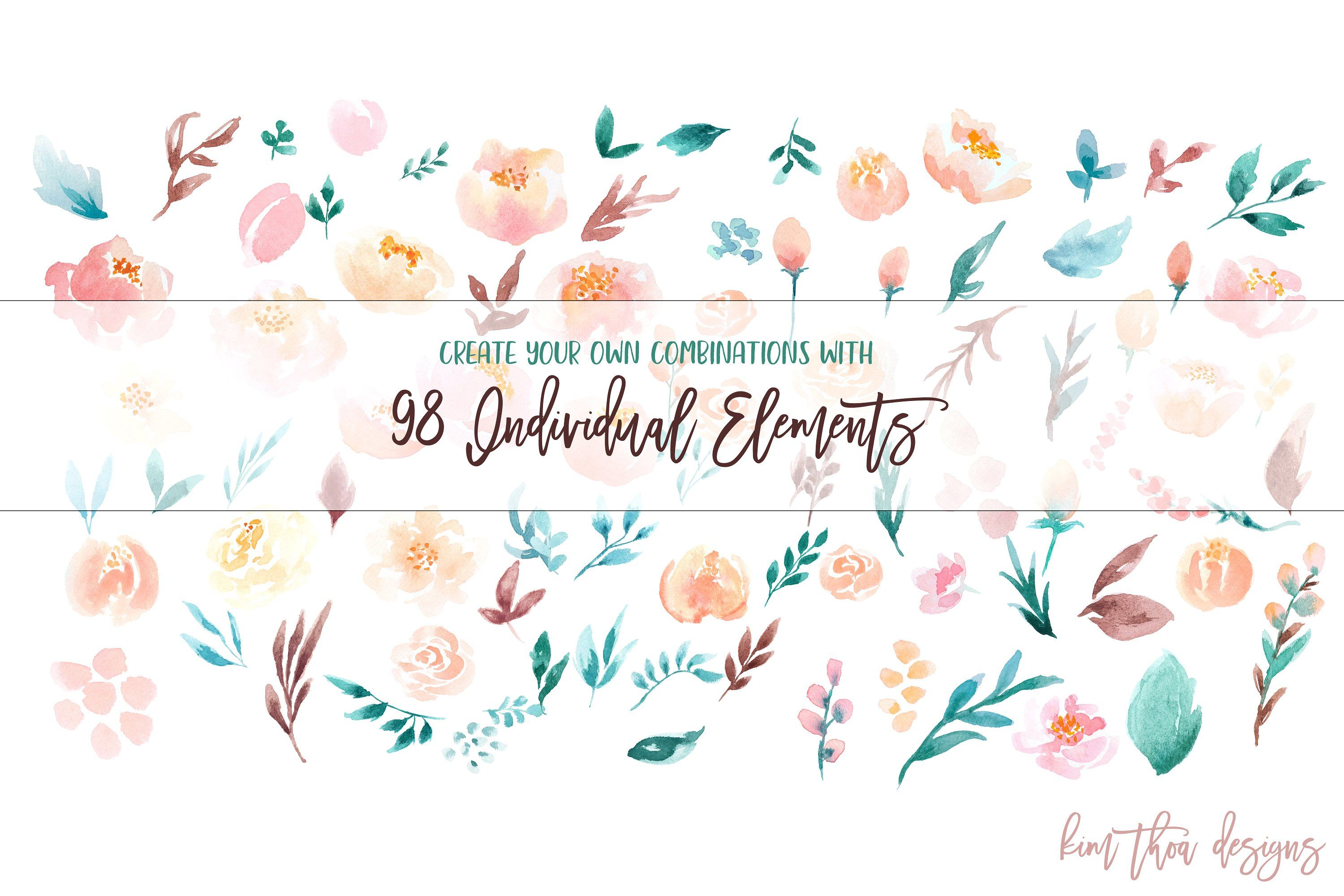 Coy - A Watercolor Floral Set by Kim Thoa Designs on @creativemarket