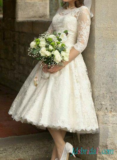 1950s Retro Tea Length Ivory Lace Sleeved Wedding Dress Wedding