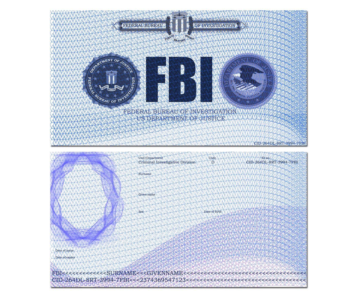 Pin By Miguel Angel Perez On Fbi Id Etc Id Card Template Card Template Flash Card Template