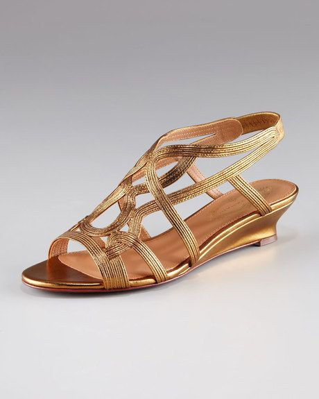 255df99c075 Elie Tahari Metallic Strappy Lowwedge Sandal in Gold (bronze) - Lyst ...