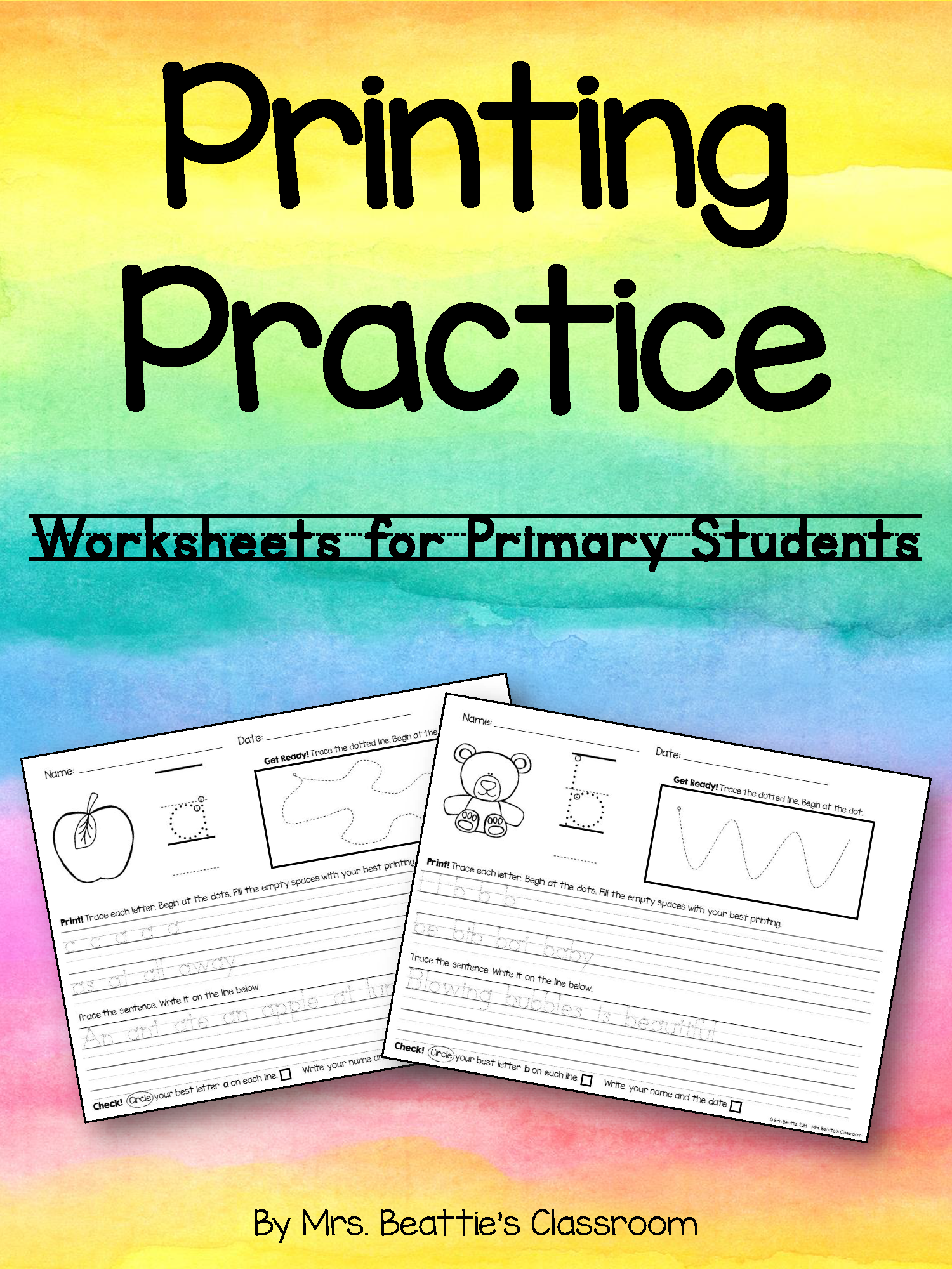 Printing Practice Worksheets With Warm Up Activity With