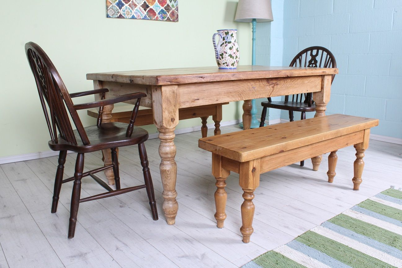 £450 Beautiful rustic 5 ft reclaimed pine farmhouse table set with 2 bench seats \u0026 & 450 Beautiful rustic 5 ft reclaimed pine farmhouse table set with 2 ...