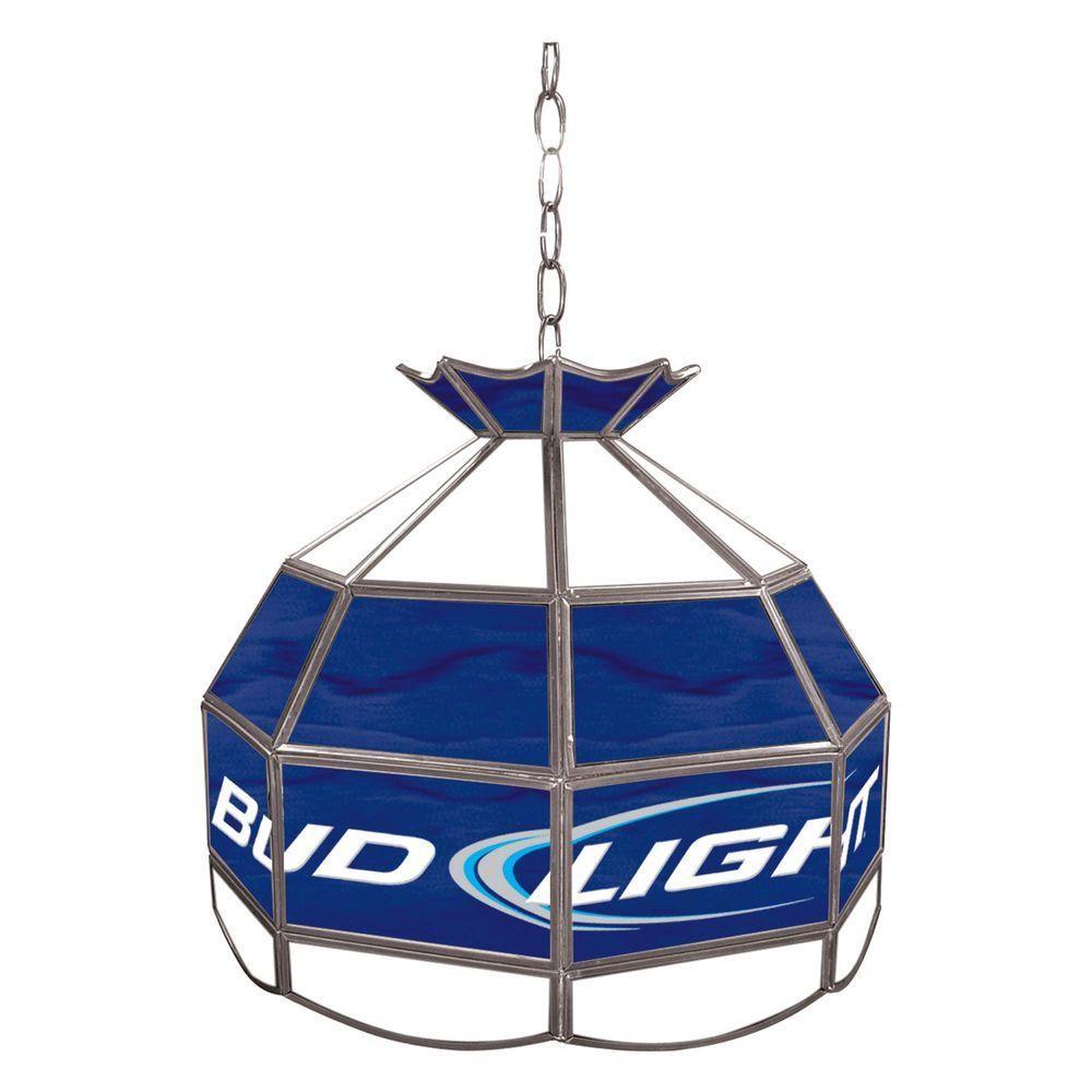 Trademark Bud Light 16 In. Silver Hanging Tiffany Style Billiard Lamp
