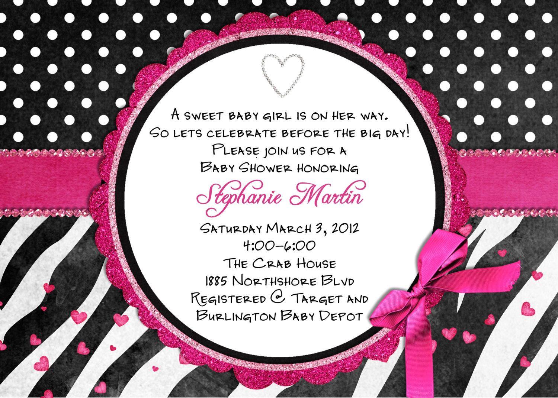 free printable hot pink zebra invitations – Free Customizable Printable Baby Shower Invitations