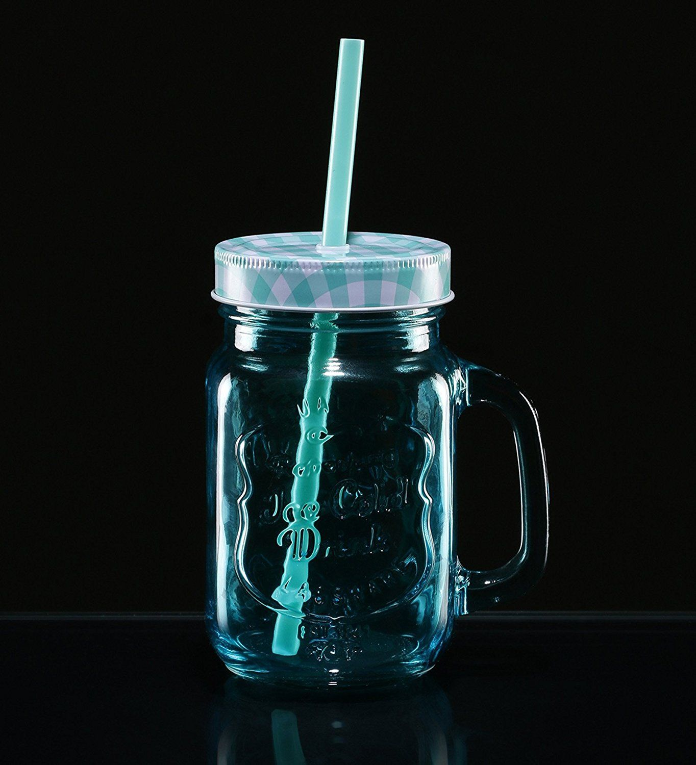Buy Devnow Glass Handle Jar with Ice Cold Print 4 Colors