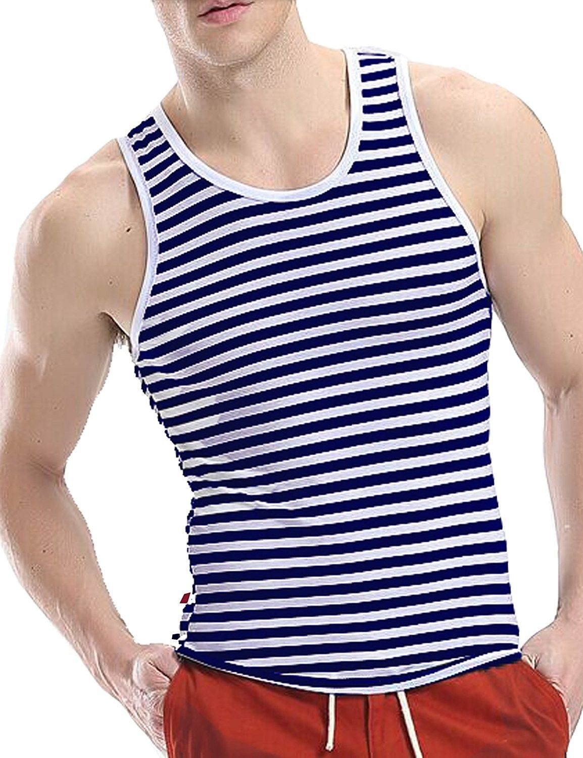 ac370cf823bfd Men s Crew Neck Y-Back Tank Tops Sleeveless Workout Muscle Undershirts -  Blue white - CF1808RRCUS