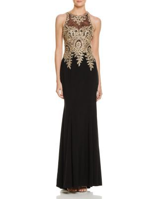 AVERY G EMBROIDERED-BODICE GOWN. #averyg