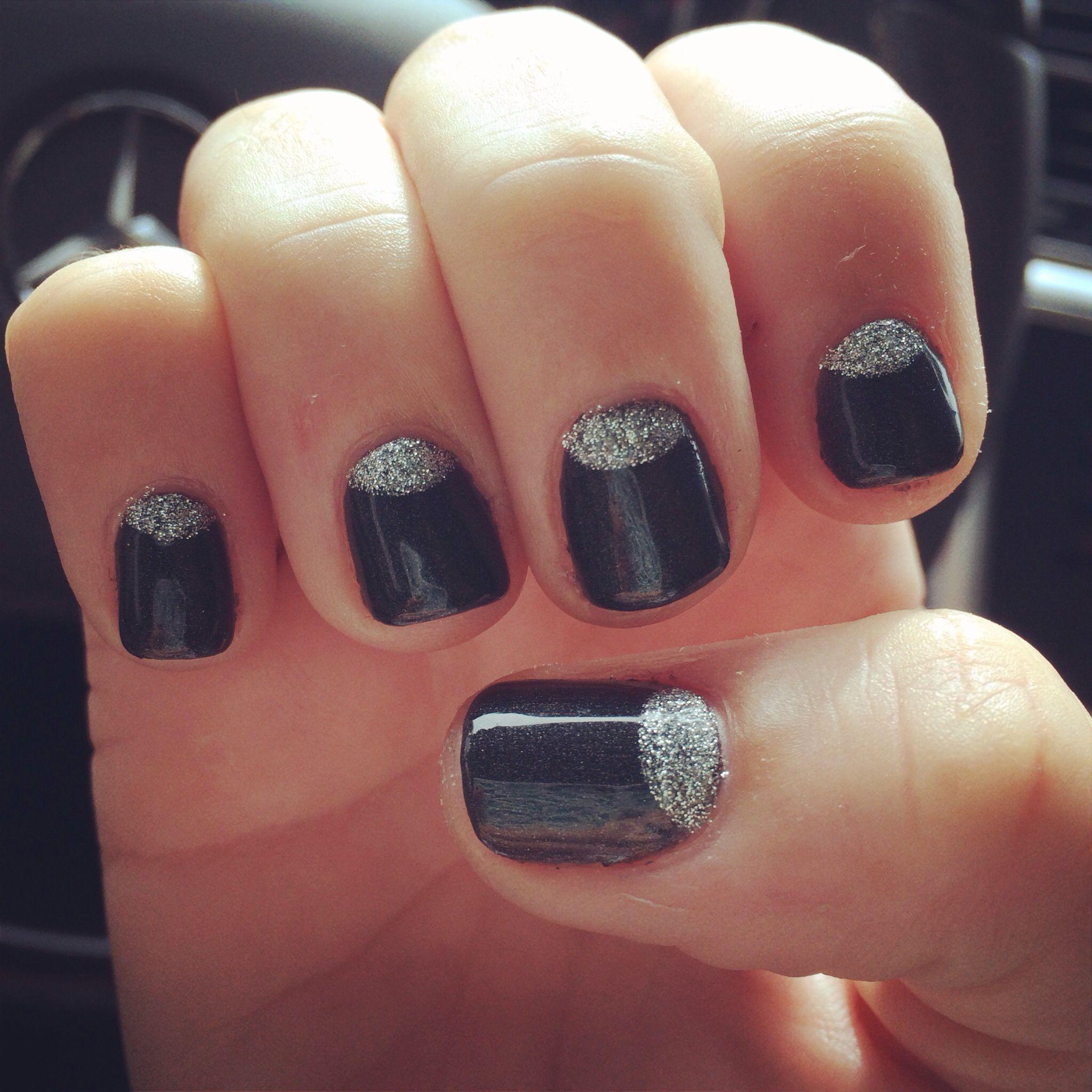 New Years Nails- black and glitter gelish nail art design   Nails ...