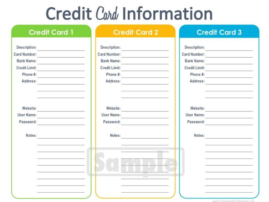 Credit Card Information Printable