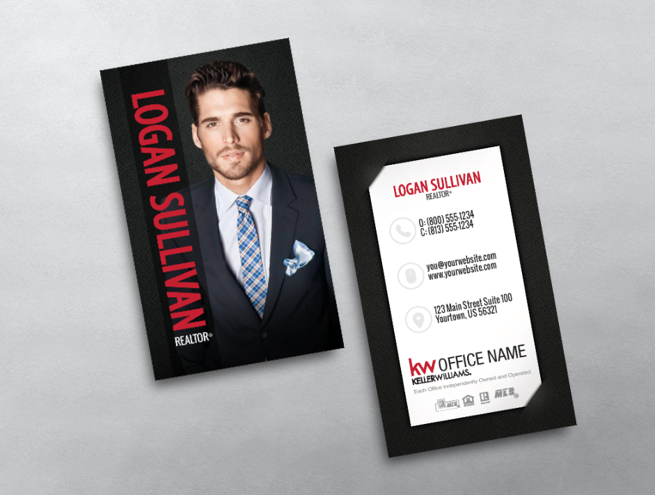 This Keller Williams Business Card Is Clean Modern And Professional If Features Yo Keller Williams Business Cards Realtor Business Cards Photo Business Cards