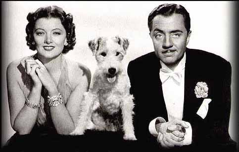 The Thin Man:  William Powell as Nick, Myrna Loy as Nora and Asta the Wire Haired Fox Terrier