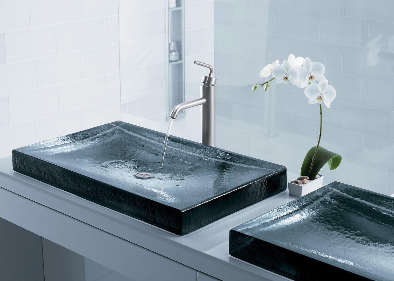 The Bold Look Of Kohler Modern Bathroom Decor Latest Bathroom Glass Sink