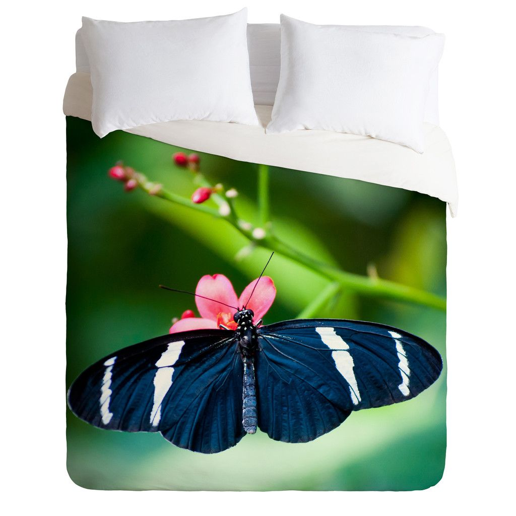 Bird Wanna Whistle Black Butterfly Duvet Cover | DENY Designs Home Accessories