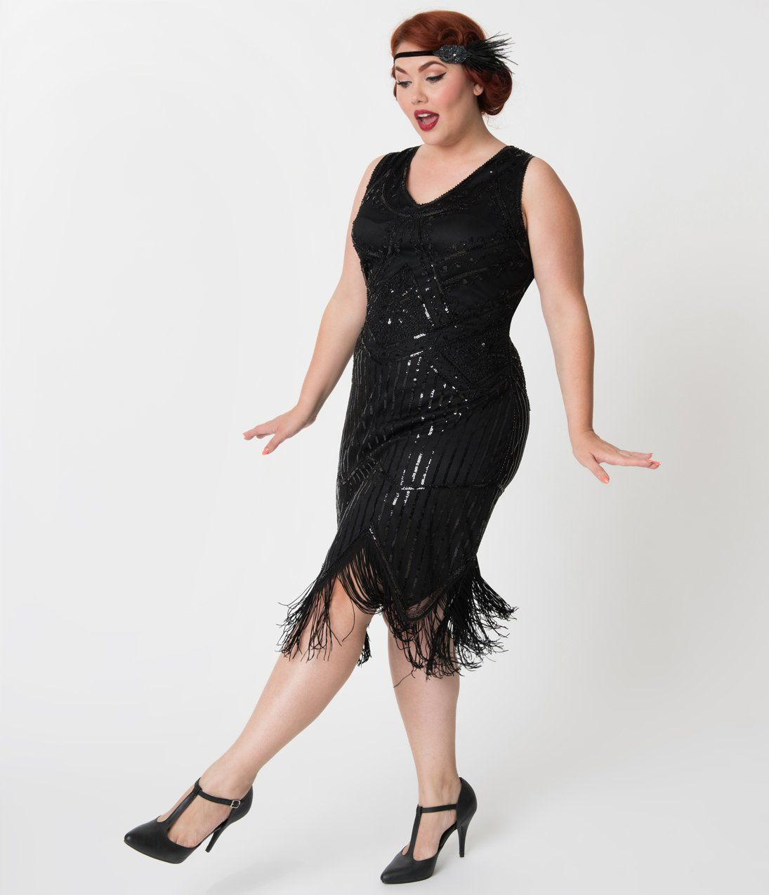 ecd5b2dfdde Plus Size 1920s Black Beaded Sequin Juliette Fringe Flapper Dress in ...