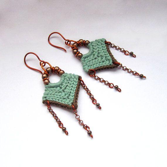Crochet, pendientes, pendientes tribales, étnicos pendientes, pendientes…