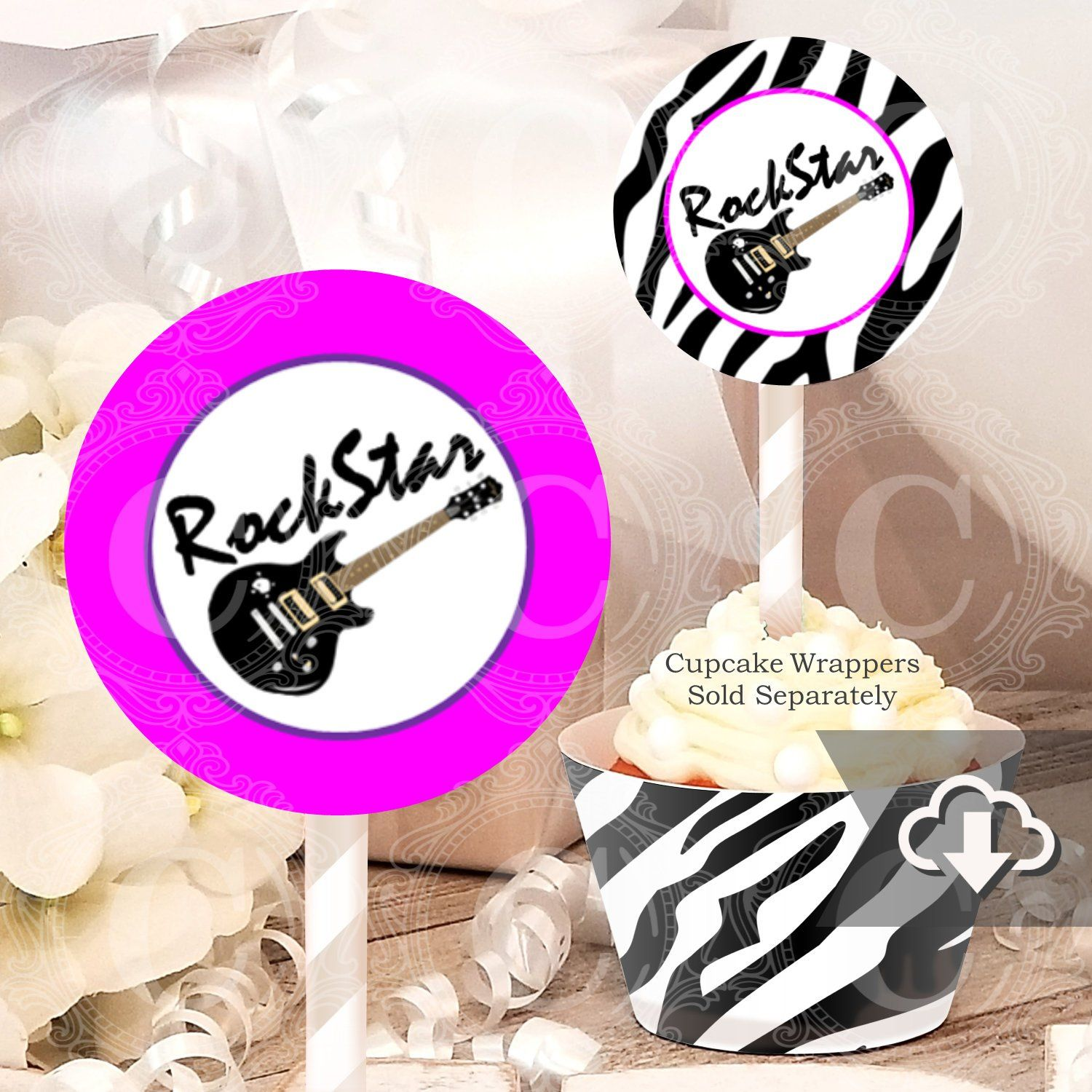 Rock Star Cupcake Toppers Printable, Girls Party Decor, Instant Download, Rock Star Printable Party Decor, Rock Star Party Decorations #rockstarparty