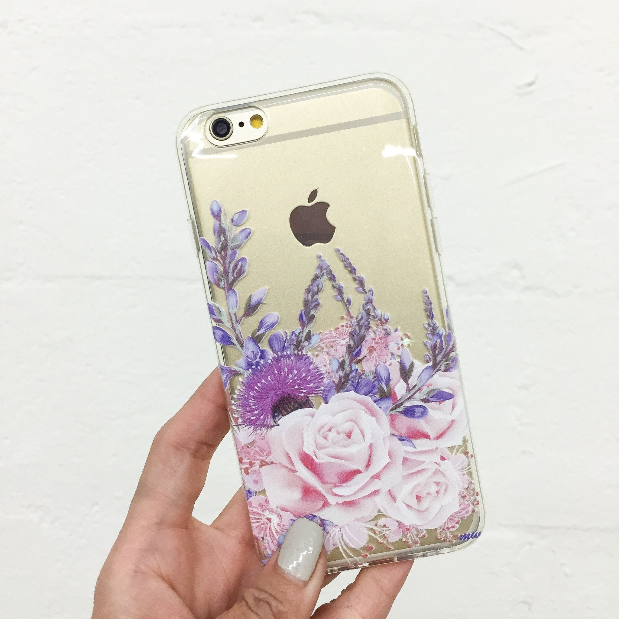 """Clear Plastic Case Cover for iPhone 6 (4.7"""") Purple Botanica"""