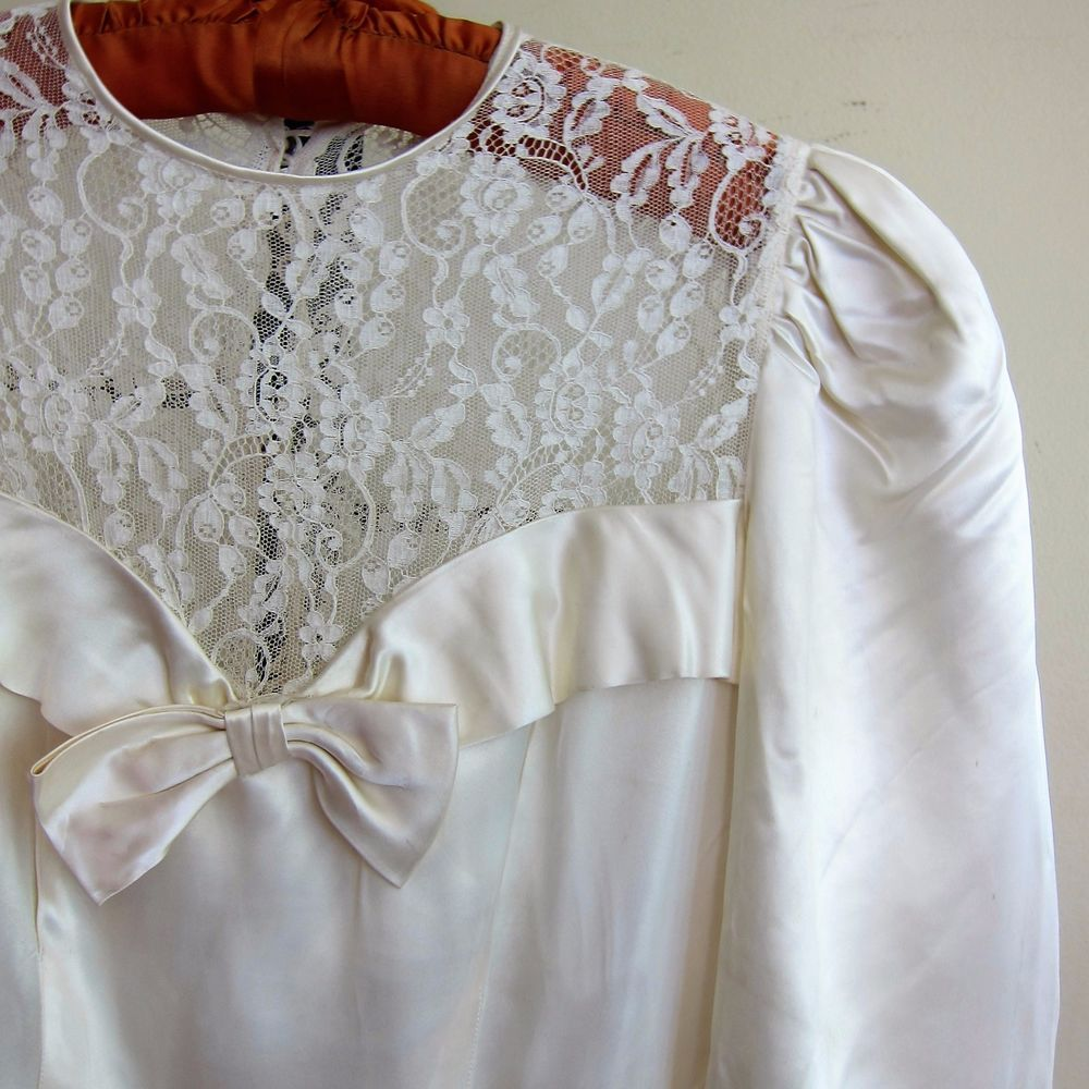 40s wedding dress  Vintage s s Ivory Satin Long Sleeved Wedding Gown with Sheer