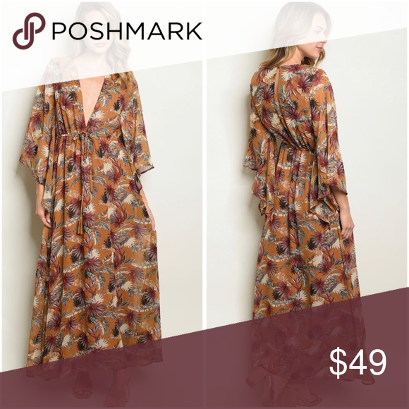 1 SM LEFT Camel leaf print v neckline maxi dress