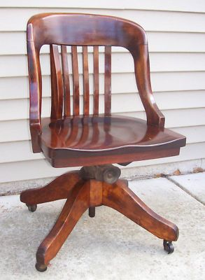 Nice Edwardian Oak Office Chair. Antique Office Swivel Chair,