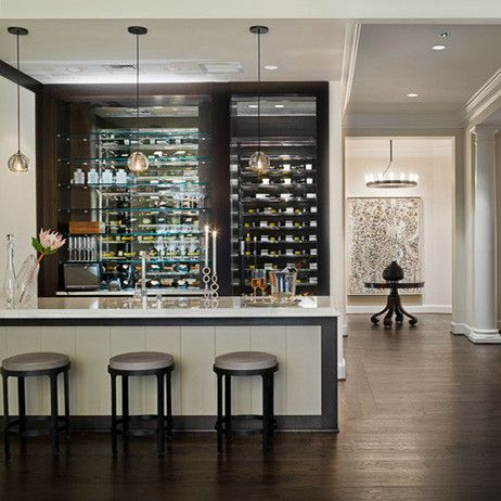 Wine Cellar Behind Custom Bar | Home Design And Ideas