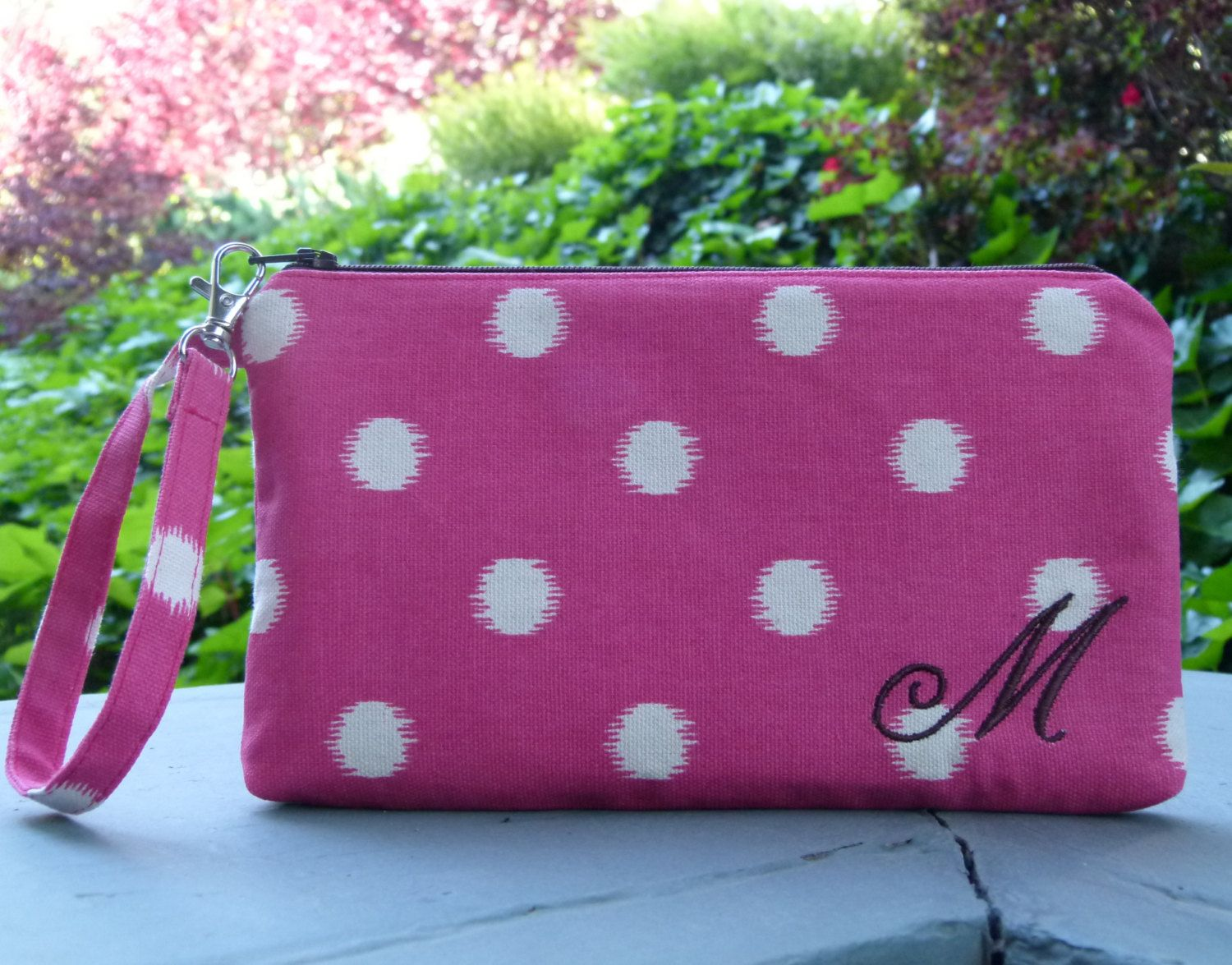Personalized Pink Ikat Dot Wristlet Wallet; Zipper Pouch; iPhone 6 Plus/Samsung Galaxy Cell Phone Wristlet; Cell Phone Purse; Clutch by ChristyRaynDesigns on Etsy