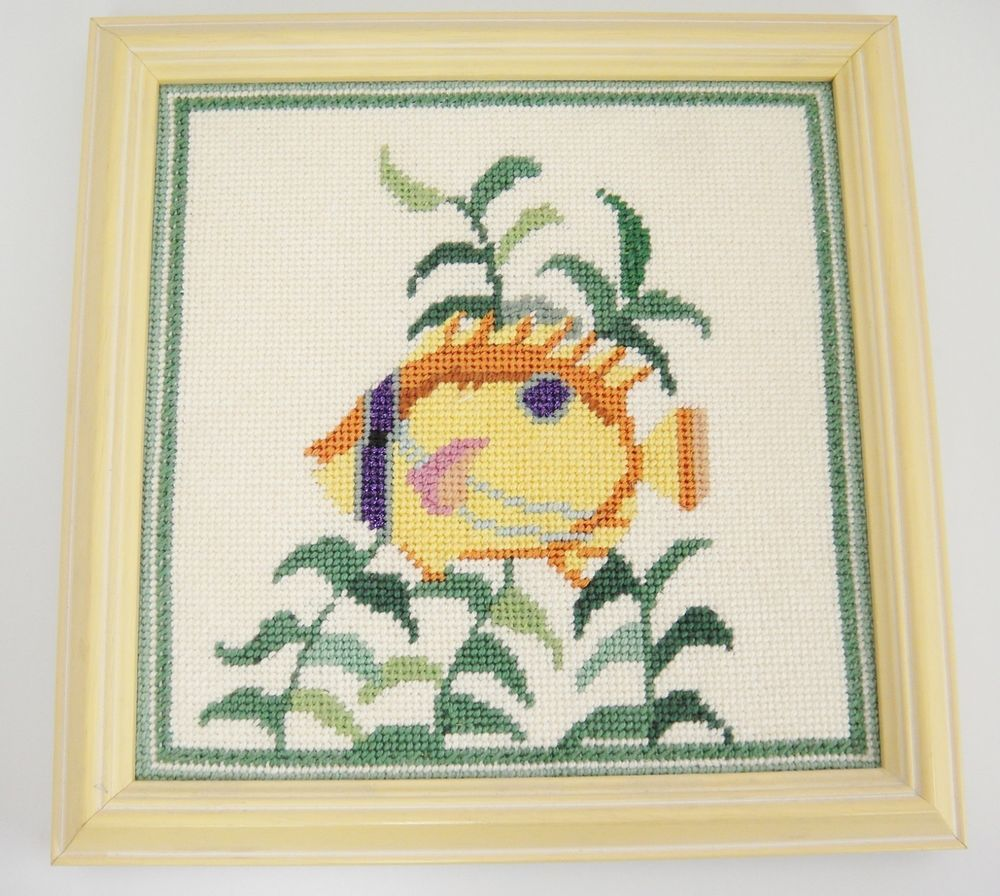 Tropical Fish Needlepoint Picture Framed Yellow Wood 9\