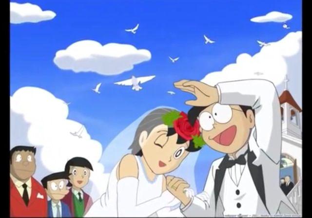 Shizuka and Nobita on their marriage day