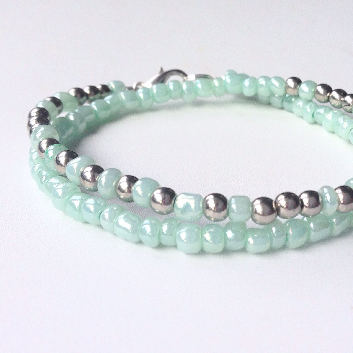 Mint and silver morse code bracelet jewelry making