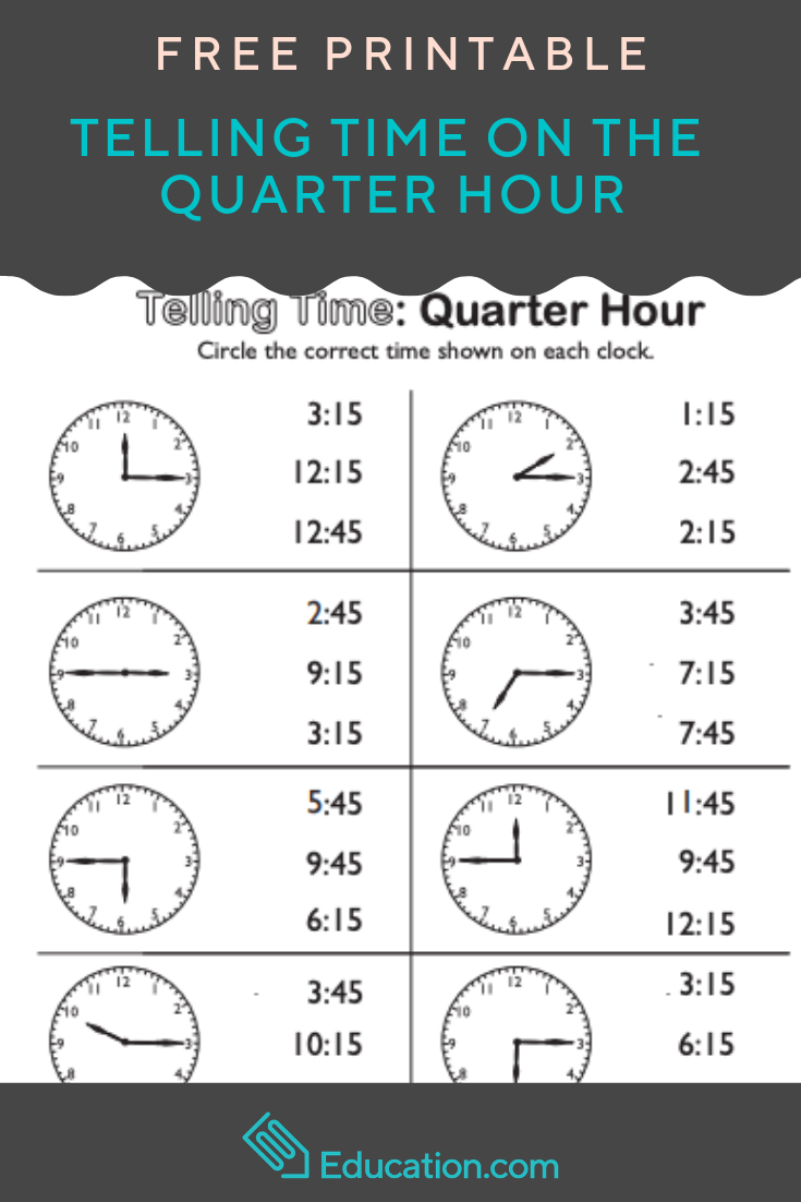 Telling Time On The Quarter Hour Match It Worksheet Education Com Telling Time Worksheets Learn To Tell Time Time Worksheets [ 1102 x 735 Pixel ]