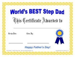 Step Dad Fathers Day Award Certificate Free Printable Award