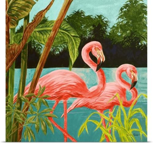 Poster Print Wall Art entitled Flamingos
