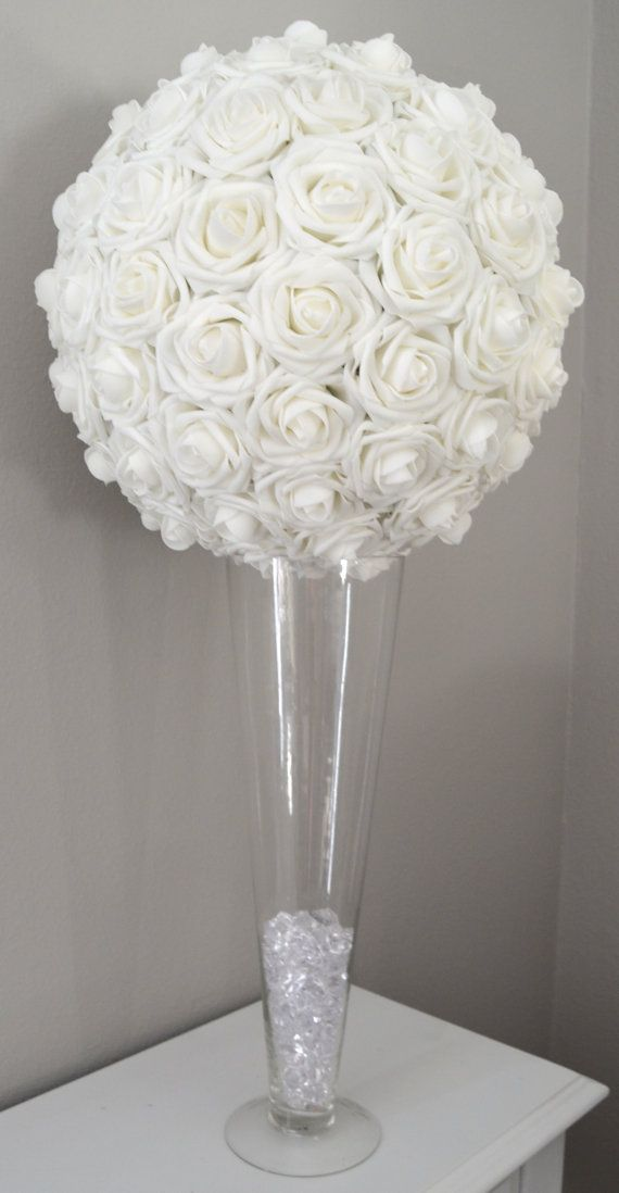 White Flower Ball Kissing Ball Pomander Wedding Etsy Rose Centerpieces Wedding Wedding Centerpieces Flower Ball Centerpiece