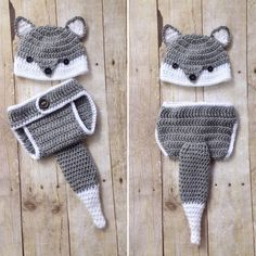 Fox Newborn Photography Prop  Wolf Newborn Outfit  Fox Baby Hat and Crochet  Diaper Cover by CominUnraveled 998236eef81