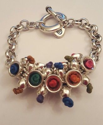 Ladies-High-Quality-Jewellery-Ciclon-Bracelet-Silver-Plated-and-Leather-BNWOT