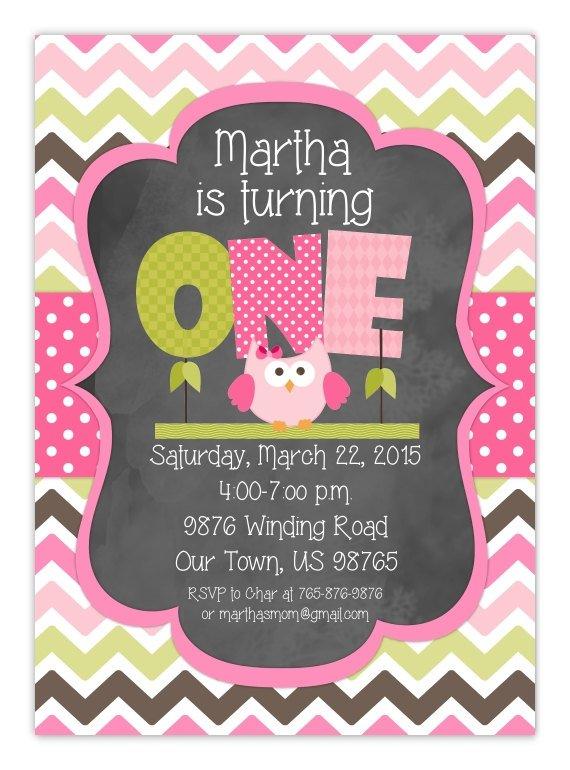 Owl First Birthday Invitation