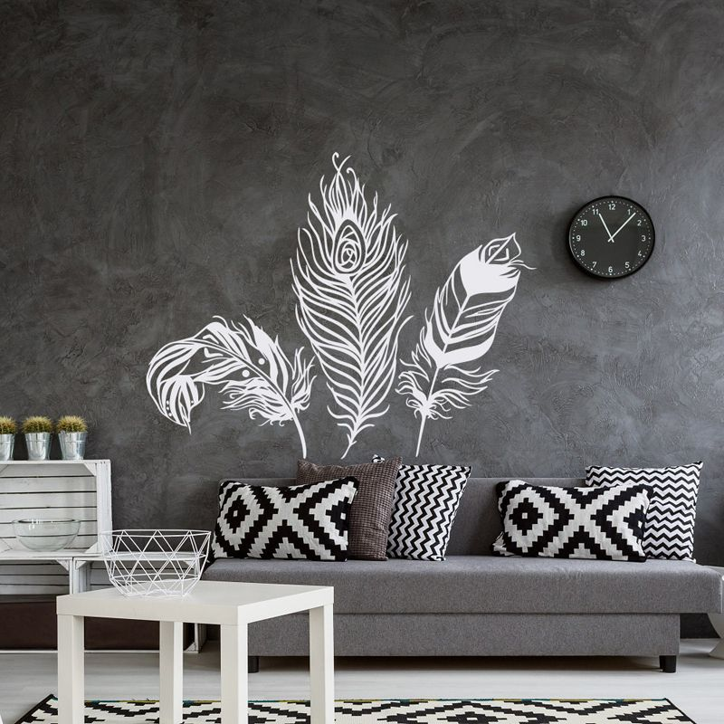 Feather Wall Decal Vinyl Wall Sticker Feathers Art Decals Tribal Boho Bohemian Bedroom Living Roo Feather Wall Decor Wall Decals Living Room Feather Wall Decal #wall #art #decals #for #living #room