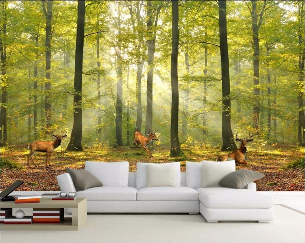 Aliexpress Com Buy Large Custom Mural Wallpapers Living: Custom Photo Wallpaper Modern European Deciduous Forest