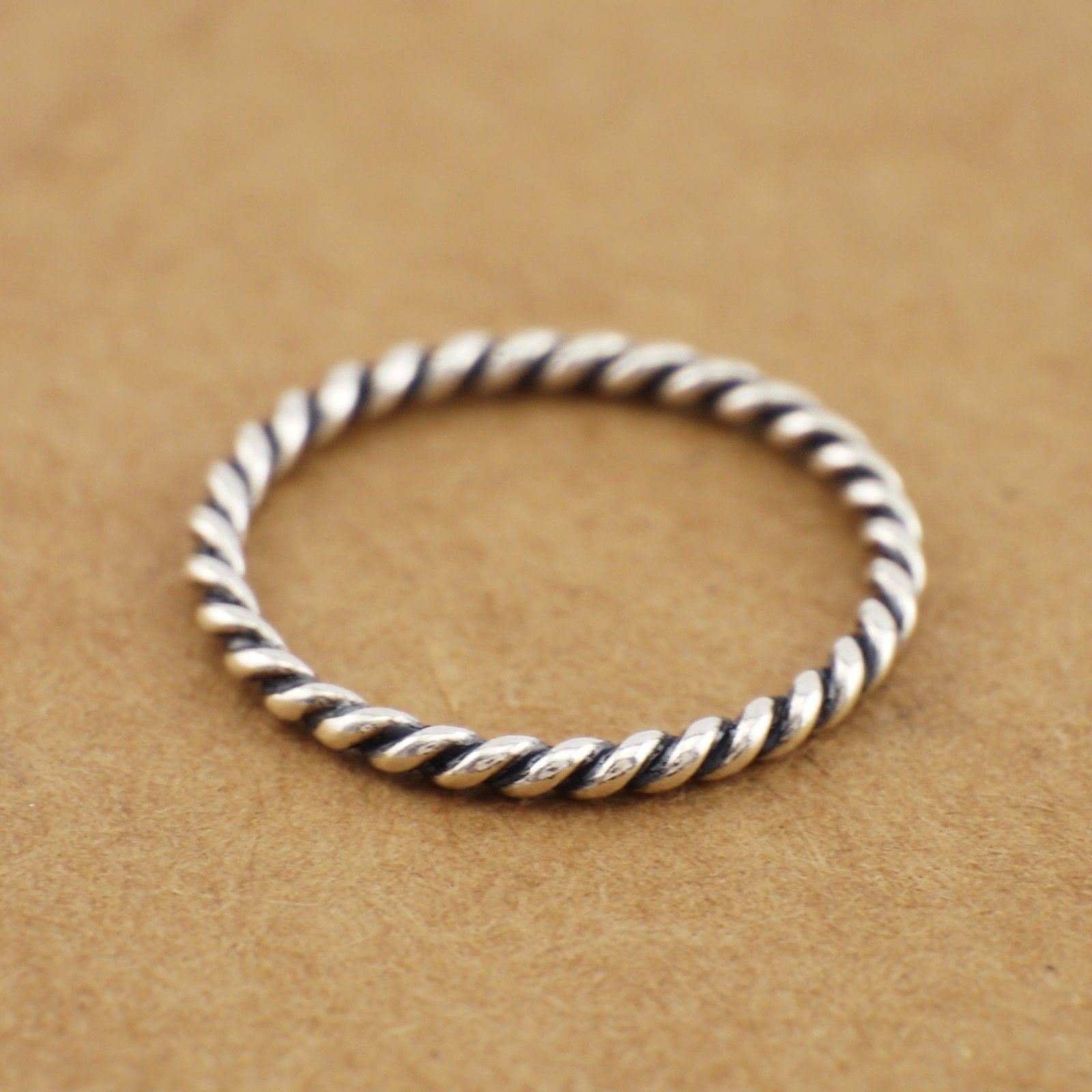 925 Sterling Silver 1.7Mm Twisted Rope Band Knuckle Stacking Ring A3571