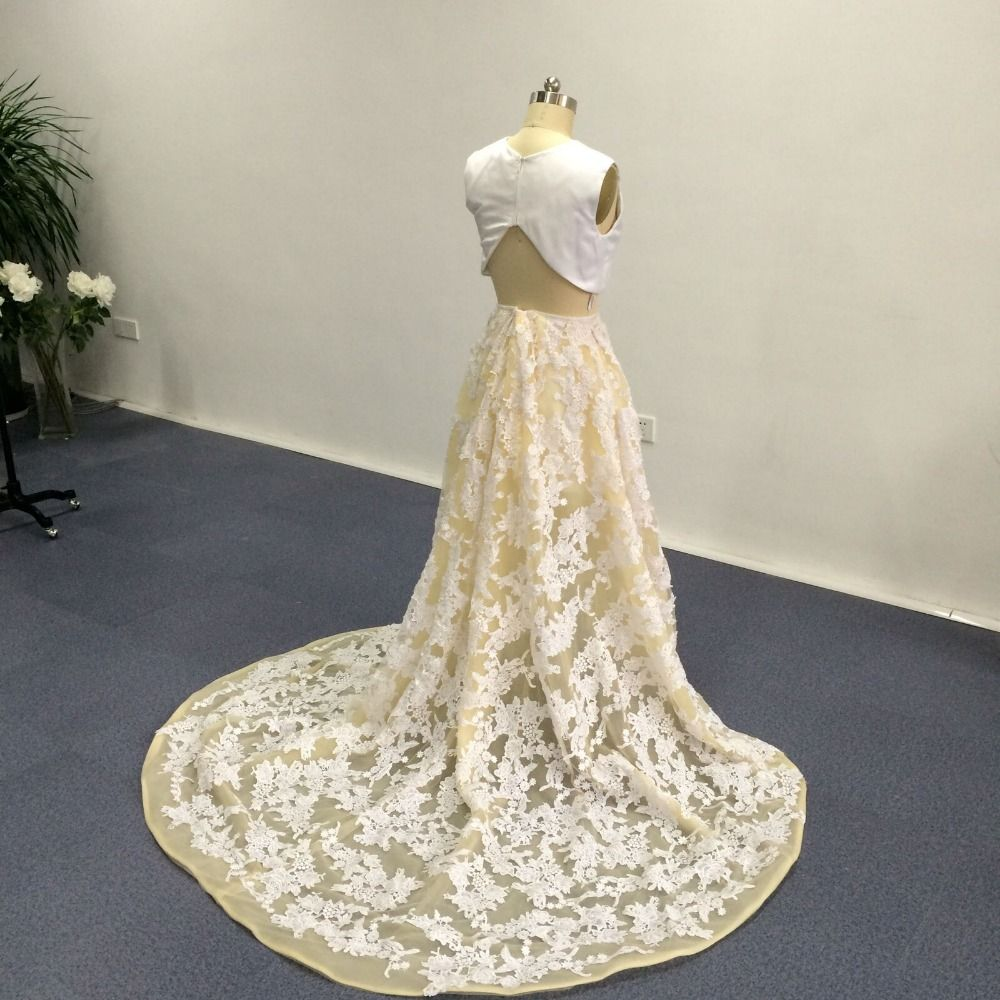 Two tones white jewel neckline sleeveless short front long back lace