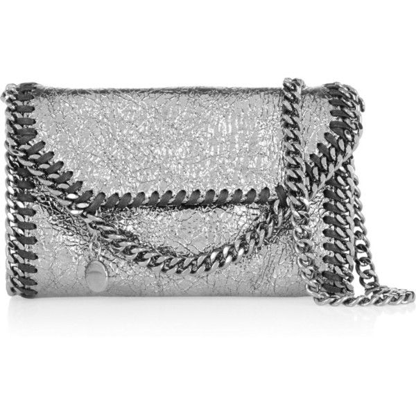 Stella McCartney The Falabella Tiny metallic faux cracked-leather... (€800) ❤ liked on Polyvore featuring bags, handbags, shoulder bags, grey, grey handbags, gray purse, grey shoulder bag and cell phone purse
