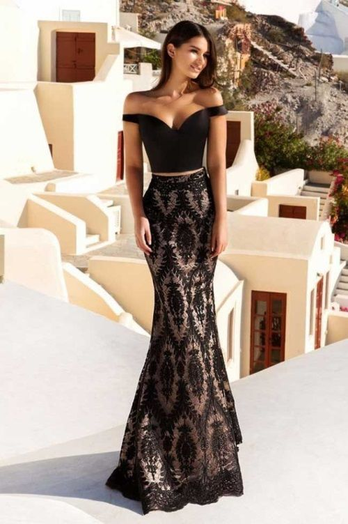 Sexy off the shoulder two piece prom dress,black with lace mermaid evening dress ,with lace long party dress sexy dress