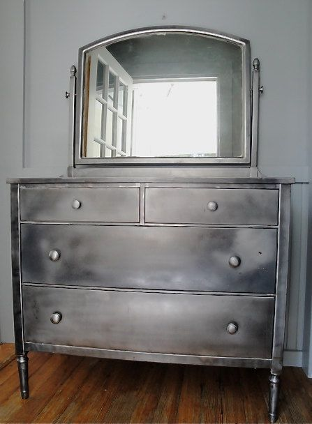 Here\'s another picture: Vintage steel industrial dresser with mirror ...