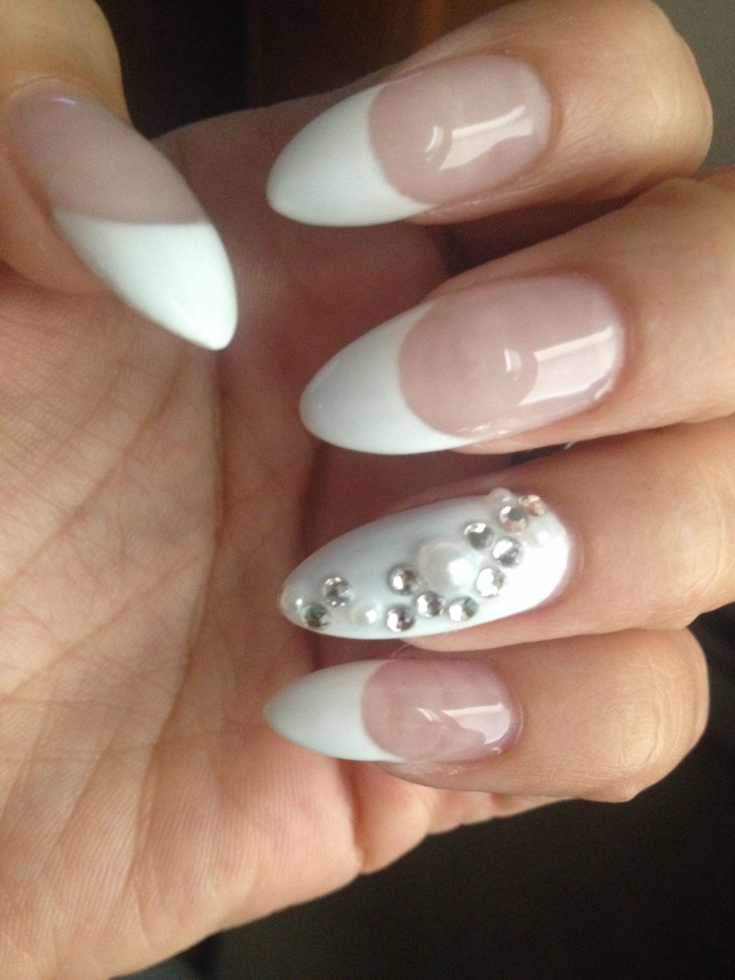 French tip stiletto nails   Mani   Pinterest   Stilettos, Manicure ...